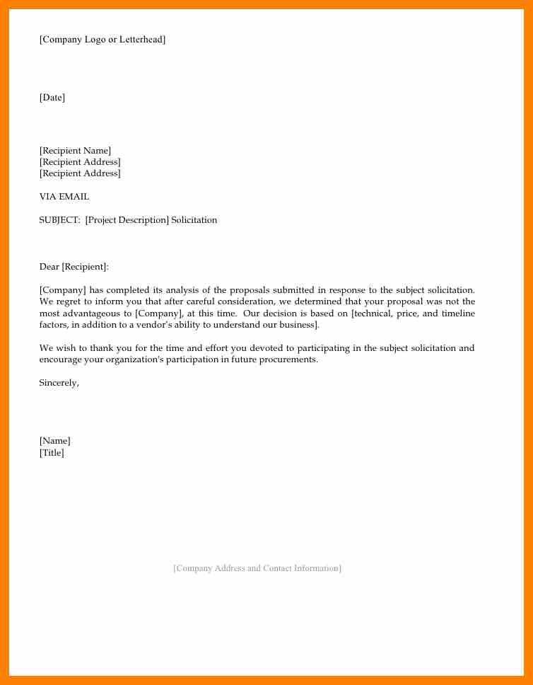 Proposal Rejection Letter. Business Proposal Rejection Letter To ...
