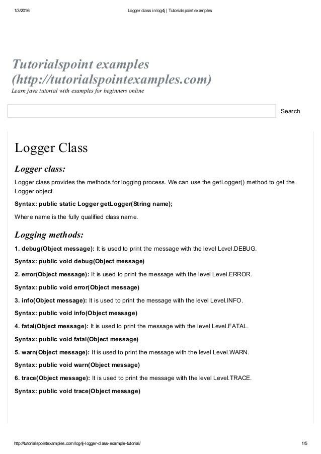 Logger class in log4j tutorialspoint examples
