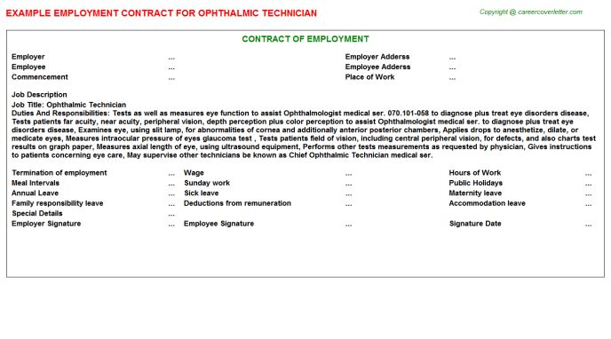 Ophthalmic Technician Cover Letter
