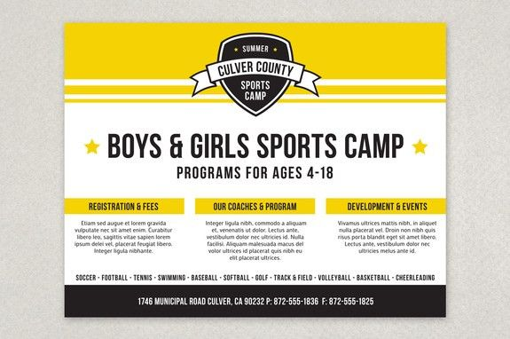 Energetic Sports Camp Flyer Template - With its bold look and ...