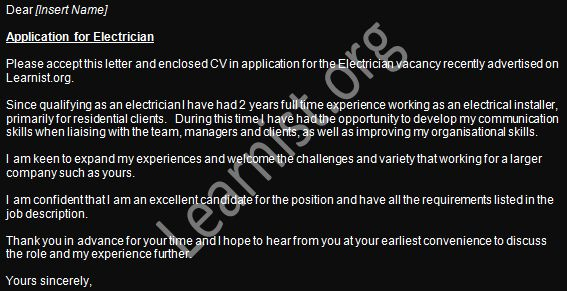 Electrician Job Application Cover Letter Example - forums.learnist.org