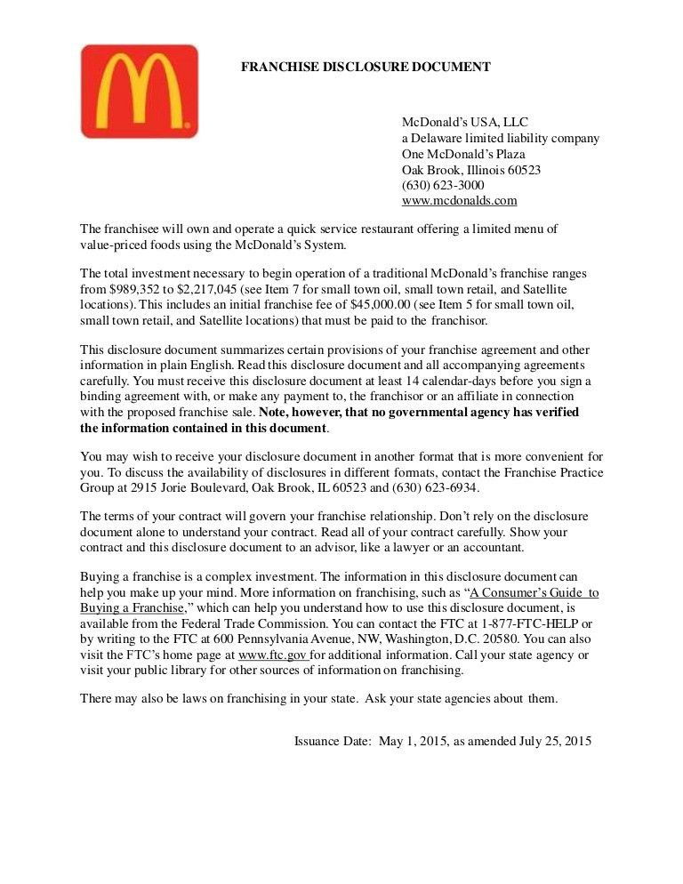 McDonald's Franchise Disclosure & Agreement Review