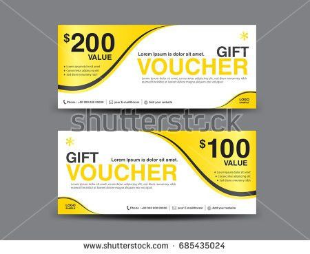 Gold Gift Voucher Vector Template Designvoucher Stock Vector ...