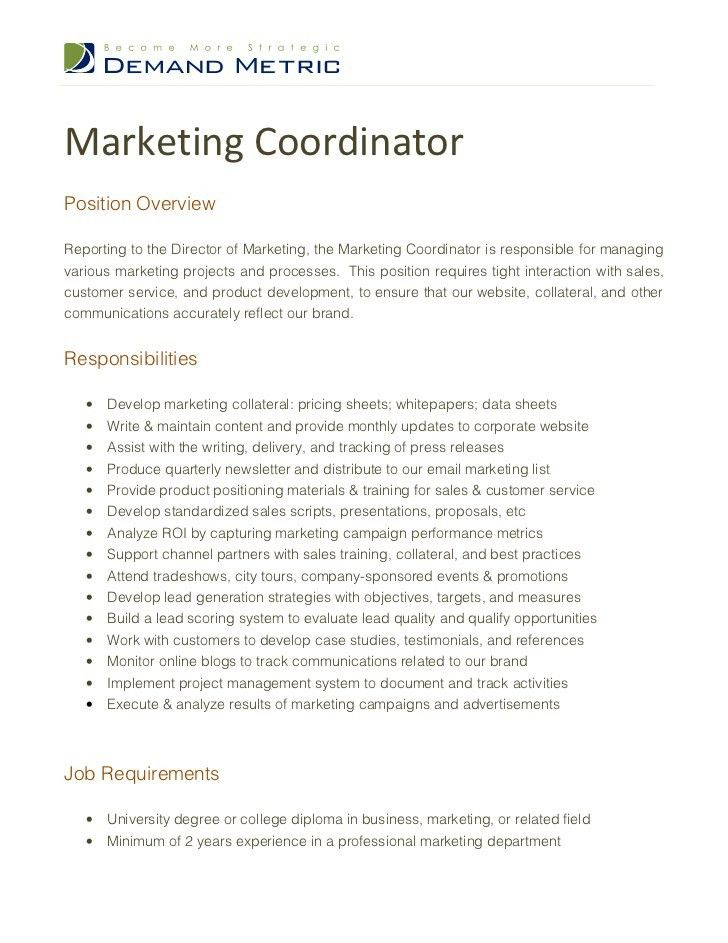 Sales Coordinator Job Description. Job Description & Requirements ...