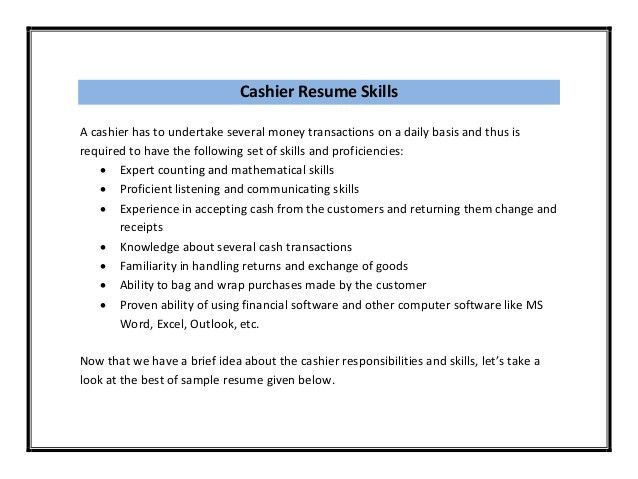 Cashier Resume Sample PDF