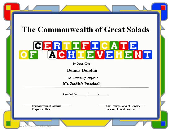 A brightly colored certificate of achievement with building block ...