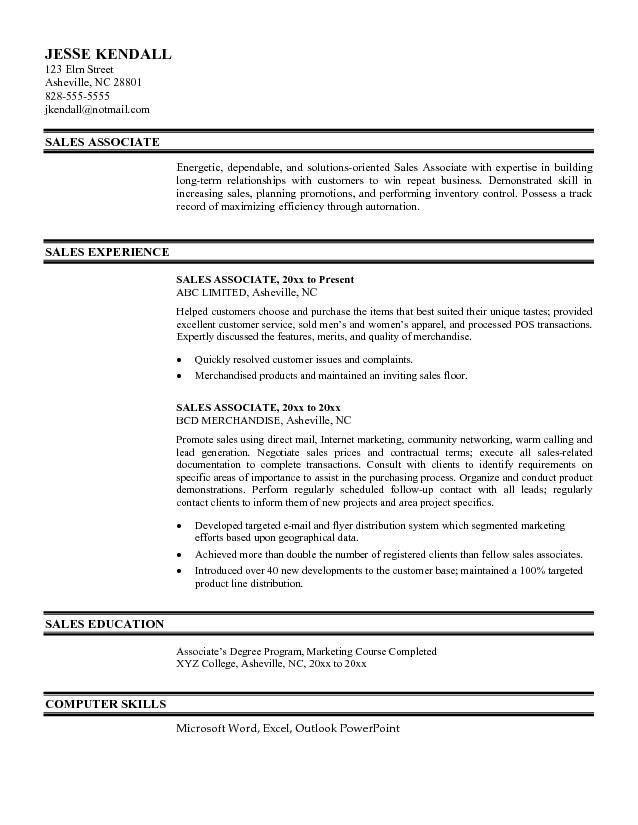 sales experience resume. resume objectives sales resume marketing ...