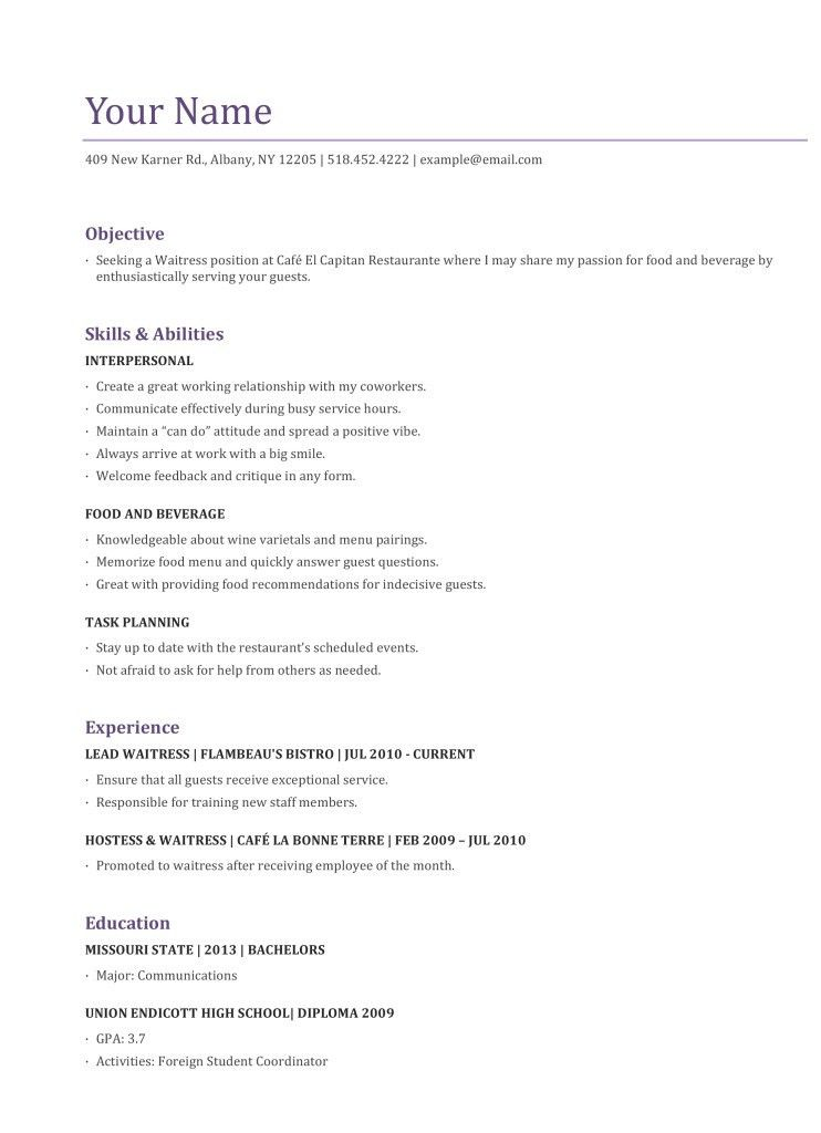 Sample Of Waitress Resume 22 Server Resume Objective - Top Free ...