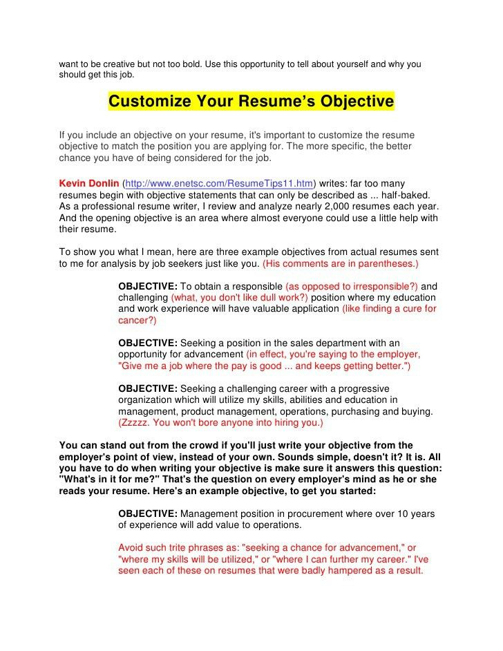 Outstanding Should A Resume Have An Objective 12 25 Best Ideas ...