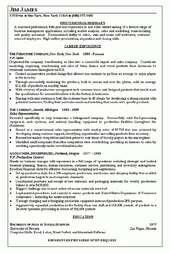 President of Sales Resume Example