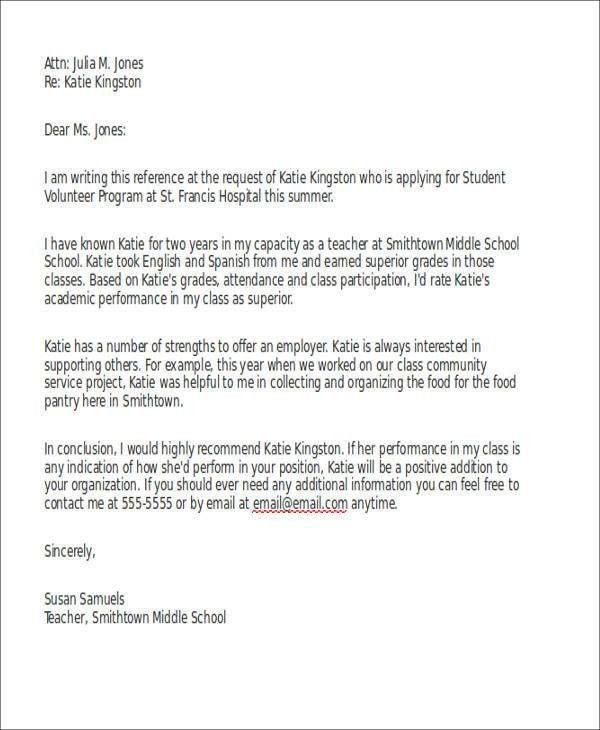 Sample Reference Letter for Schools - 7+ Examples in PDF, Word