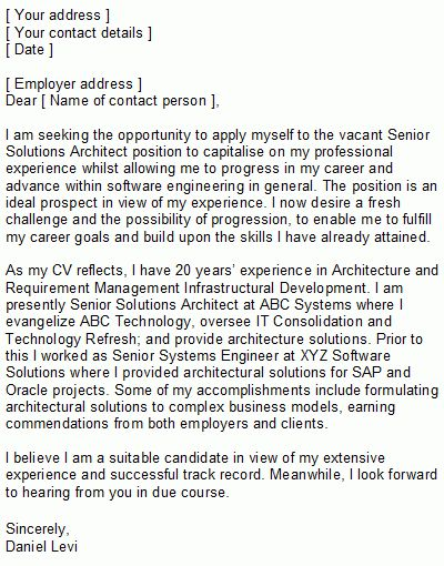 Software Engineering Covering Letter Sample