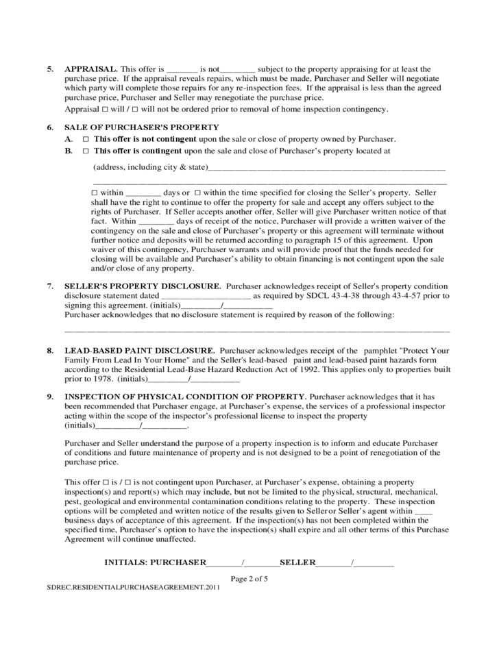 Purchase Contract Form - South Dakota Free Download
