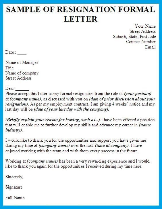 Formal Resignation Letter Template | shiena | Pinterest ...