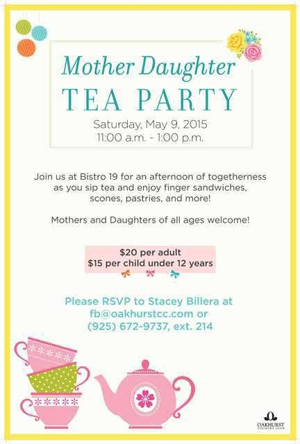 Mother Daughter Tea Party poster flyer template at Oakhurst ...