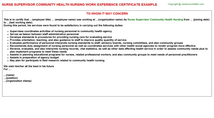 Nurse Supervisor Community Health Nursing Work Experience Certificate
