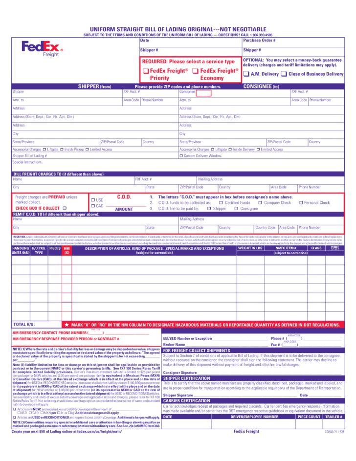 Uniform Straight Bill of Lading Free Download
