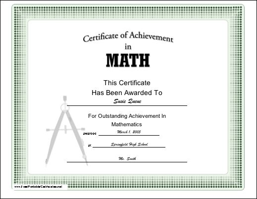 A certificate of achievement in mathematics, appropriate for grade ...