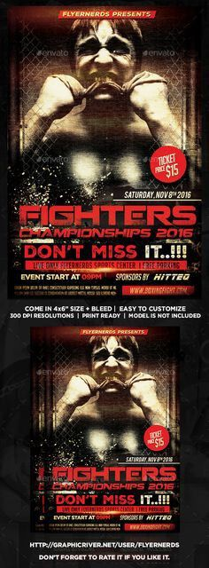 Fight Night Championships Sports Flyer | Night, Flyers and Fight night