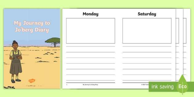 Diary Writing Template to Support Teaching on Journey to Jo'burg