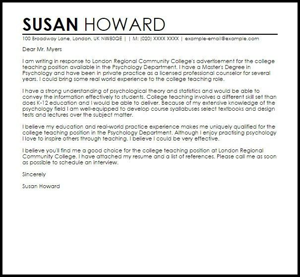 Cover Letter Sample College Professor Example For 19 Amazing ...