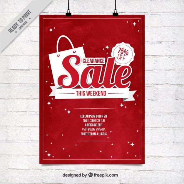 Red sale poster template Vector | Free Download