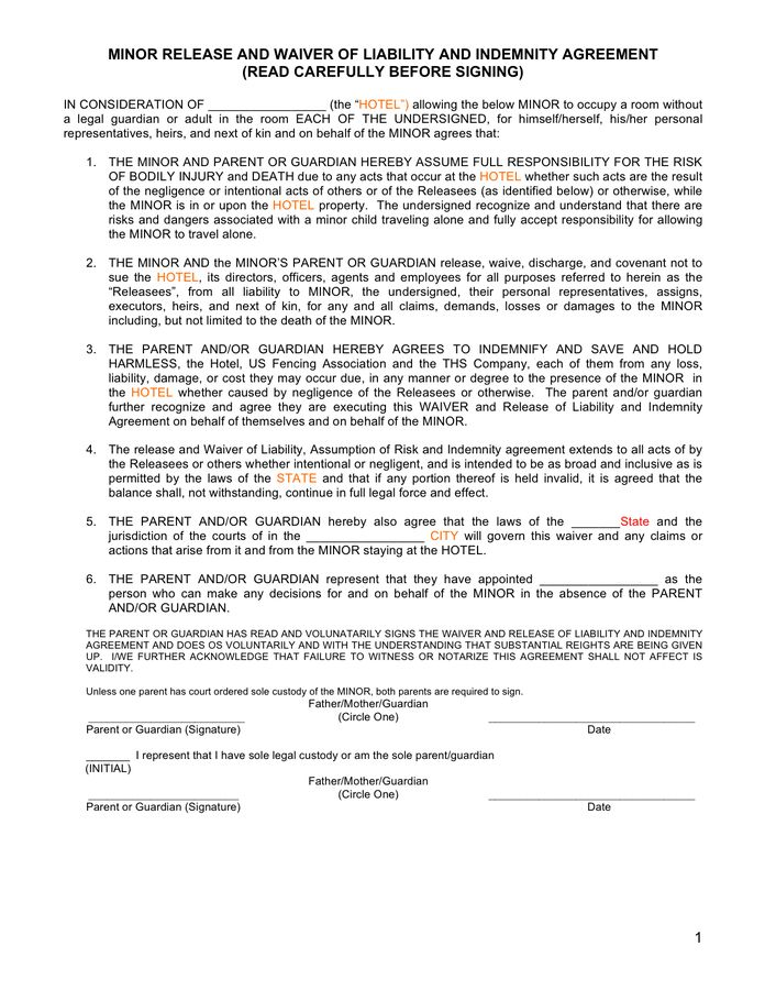 Minor release and waiver of liability and indemnity agreement in ...