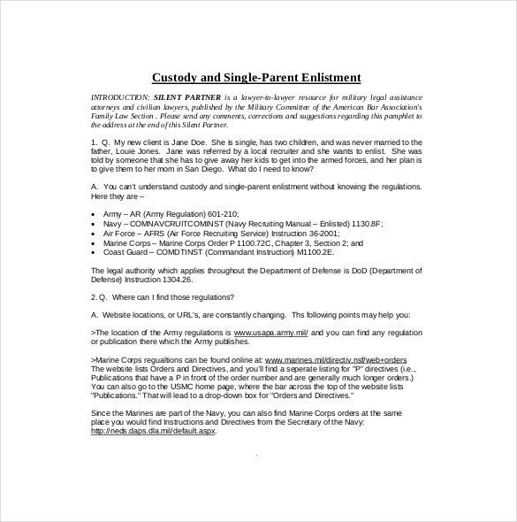 10+ Custody Agreement Templates – Free Sample, Example, Format ...