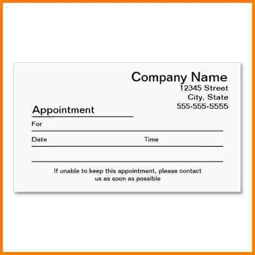11 appointment cards template | Receipt Templates
