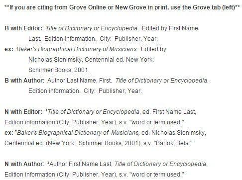 Encyclopedias & Dictionaries - Music Citations: Turabian/Chicago ...