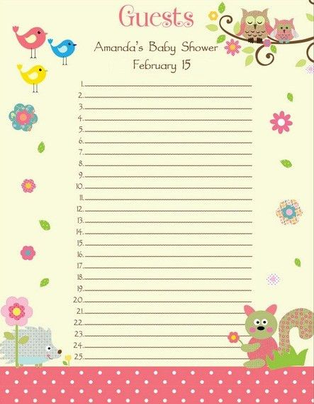 baby shower invitation list template Archives - Baby Shower DIY