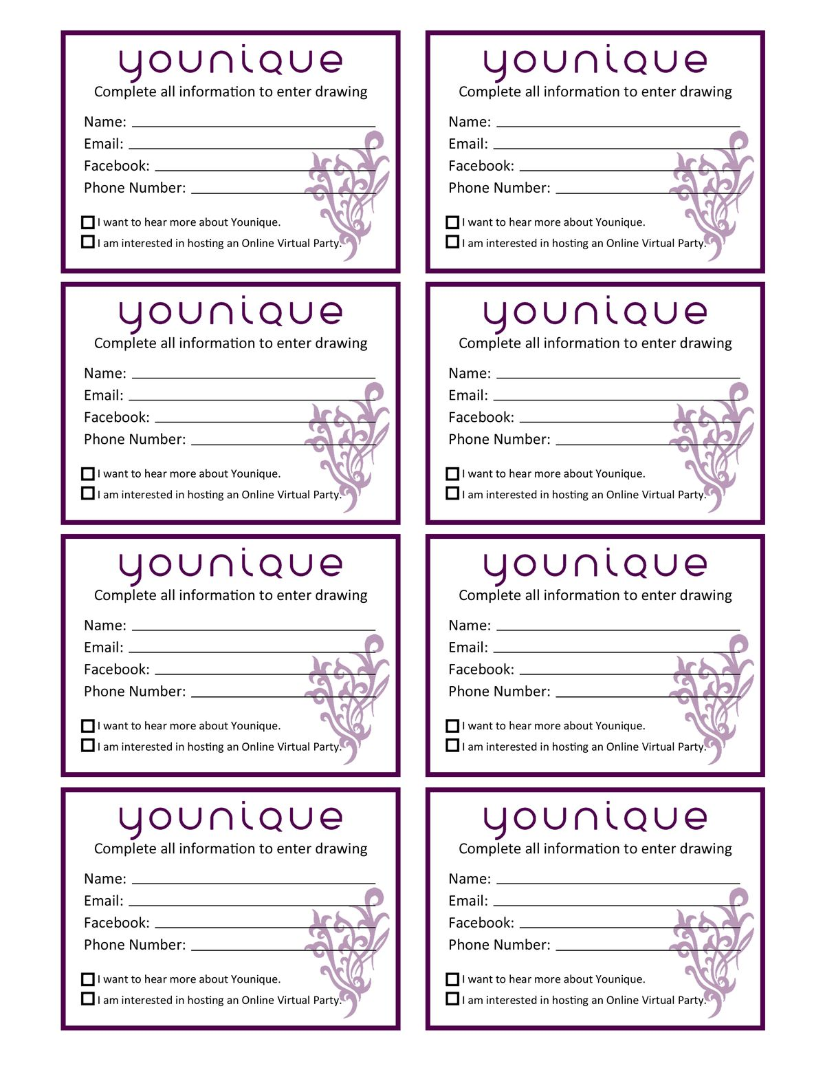 younique raffle tickets for events created by janet saywer younique raffle tickets for events created by janet saywers for presenters younique drawing