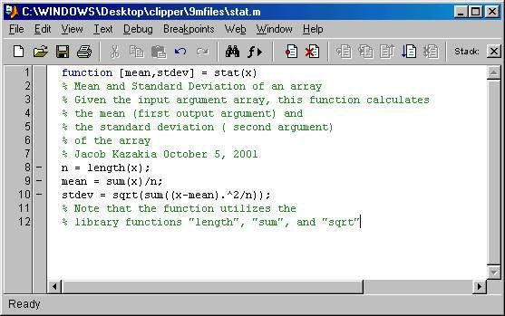 MATLAB user defined functions
