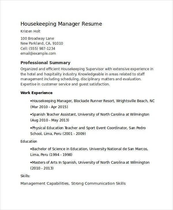 Download Housekeeping Supervisor Resume | haadyaooverbayresort.com