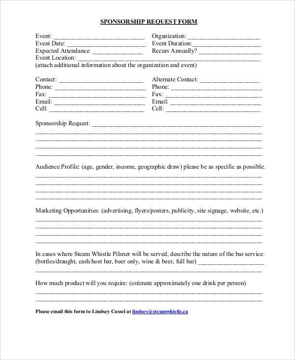 Sponsorship Request Form. Donation Request Forms Template ...