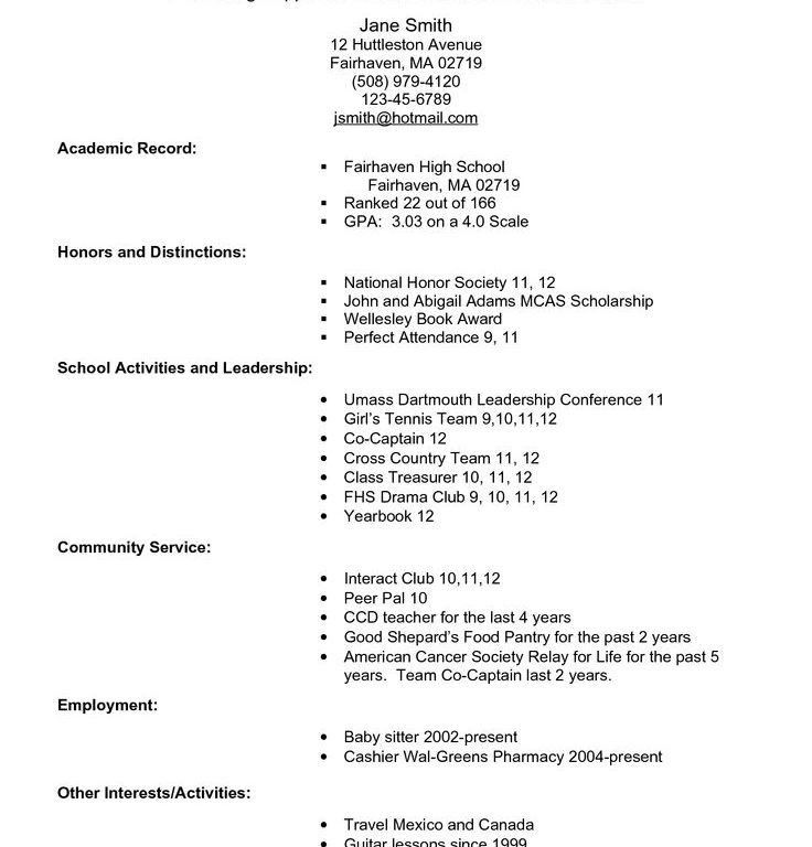 College Admission Resume Template. College Resumes Examples ...