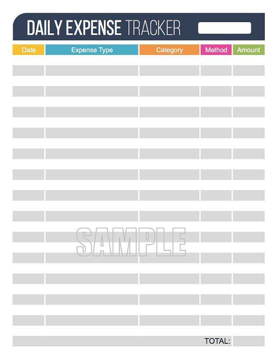 Daily Expense Tracker Printable - Financial Printable | Organizing ...