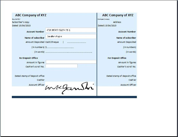 Business Account Receipt Template | Receipt Templates