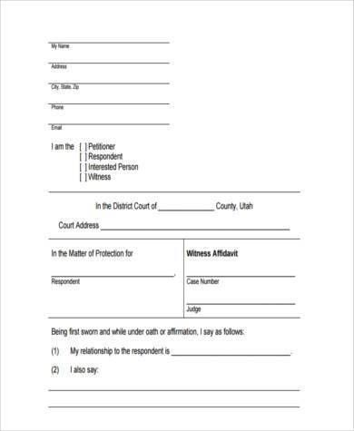 7+ Witness Affidavit Form Samples - Free Sample, Example Format ...