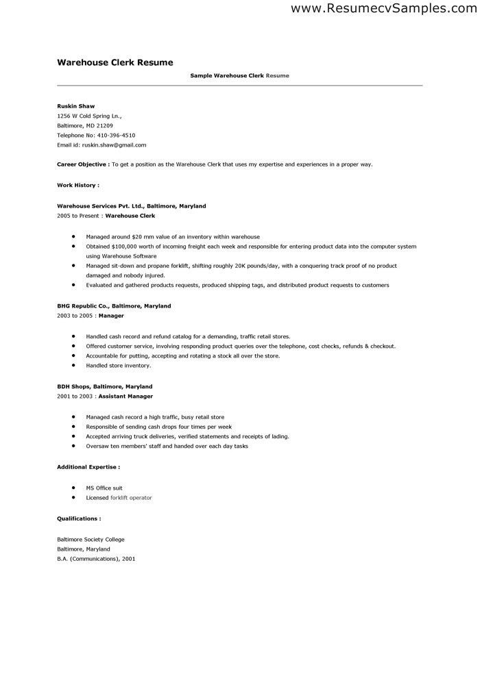 Sample Warehouse Clerk Resume