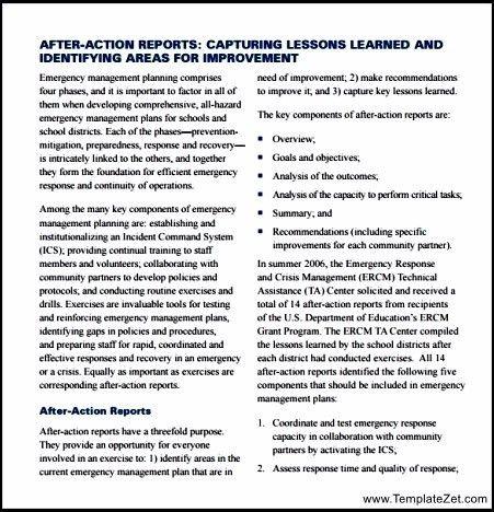 Sample After Action Report Template | TemplateZet