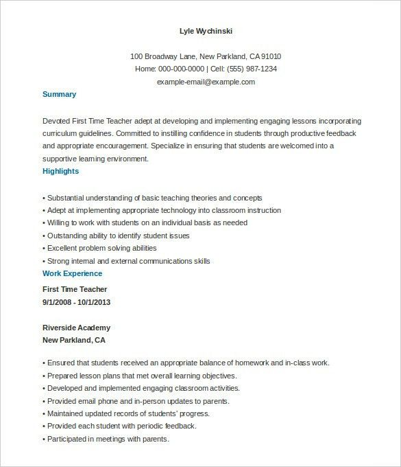 Download First Time Teacher Resume | haadyaooverbayresort.com