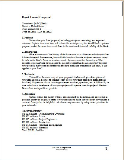 Bank Loan Proposal Template | Proposal Templates
