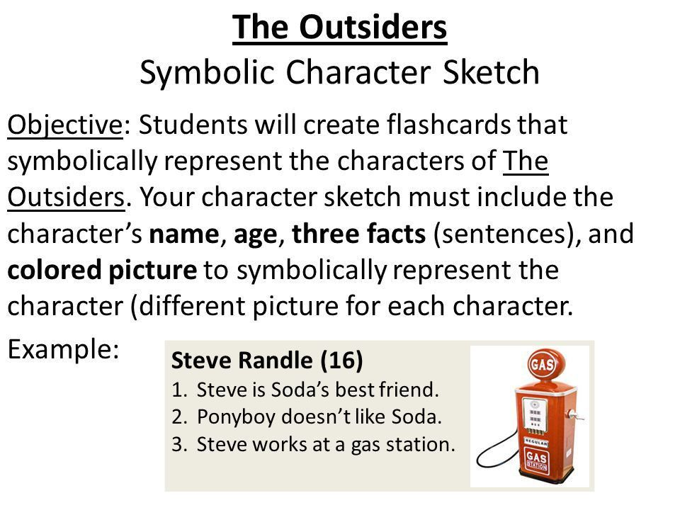 The Outsiders: Character Sketch Greasers (Front Side) Darrel ...
