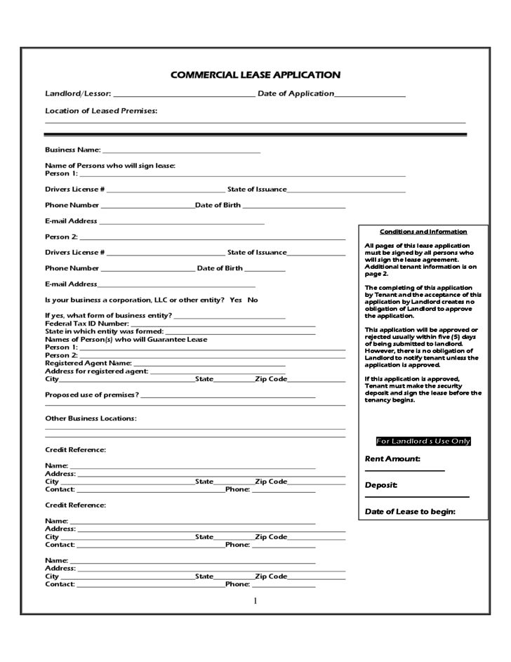 Commercial Lease Application Sample Free Download