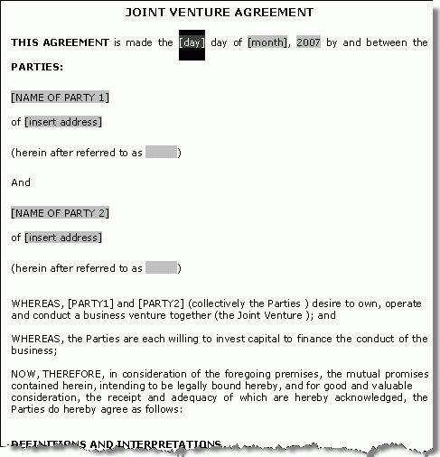 Venture Agreement Sample Free