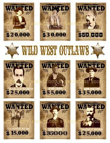 Wild West Outlaws...Wanted Posters Digital Collage Sheet-outlaw ...