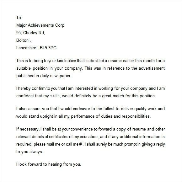 interview application letter. follow up letter after application ...