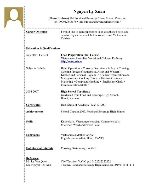 Examples Of Resumes With No Experience. High School Resume ...