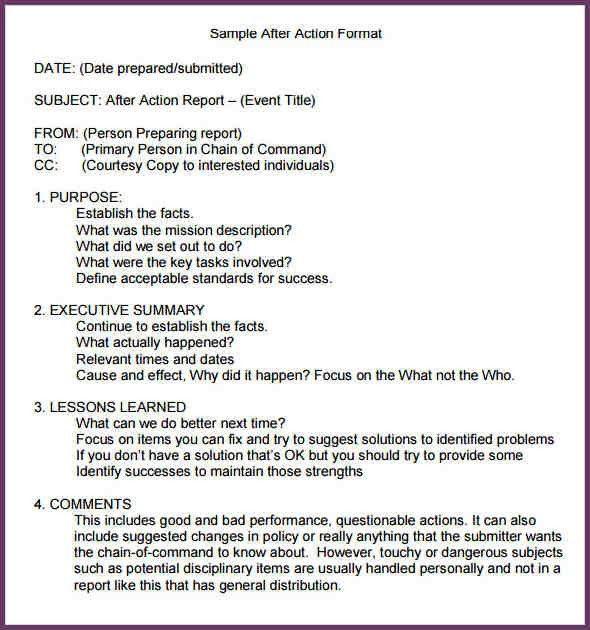AFTER ACTION REPORT TEMPLATE | cvsampleform.com